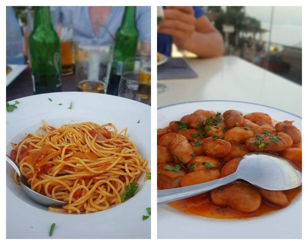 "Pasta napolitana och ""giant beans"""