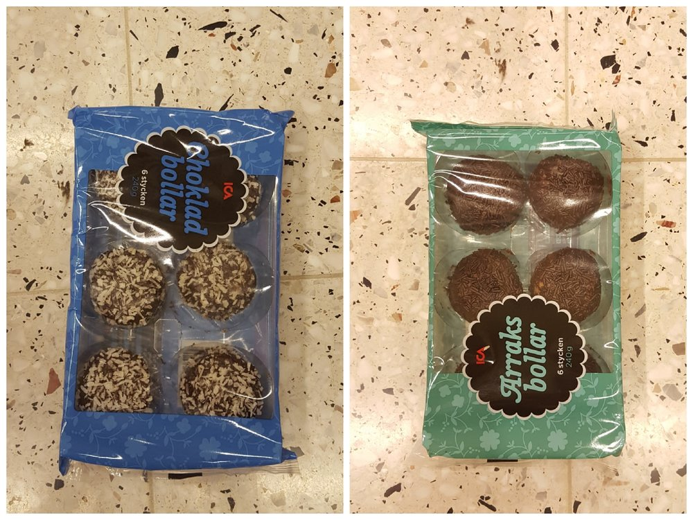 Även ICAs egna variant av choklad och arraksbollar är veganska.