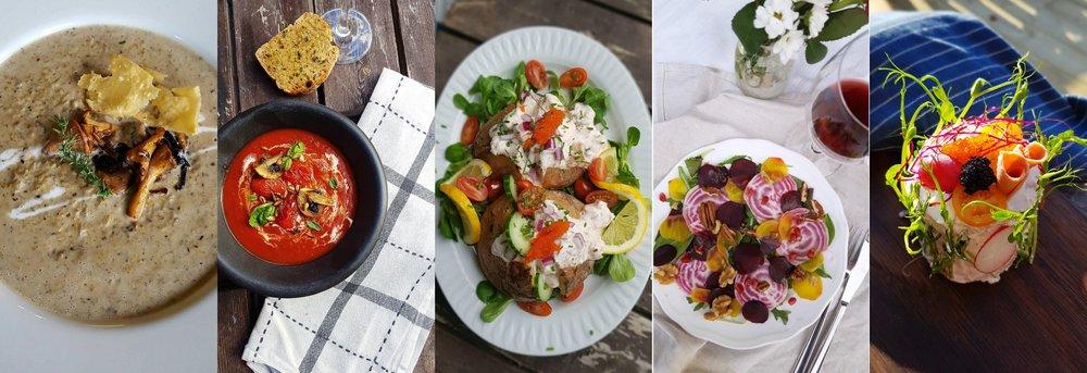 Svampsoppa //  Tomatsoppa med rödvin och basilika  //  Bakpotatis med vegoskagen  //  Gul-röd- och polkabetscarpaccio  //  Smörgåsbakelse