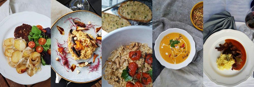 Potatisgratäng  //  3x svamprisotto  //  Kantarellpasta  //  Morotssoppa med kokos och ingefära  //  Oumph bourguignon
