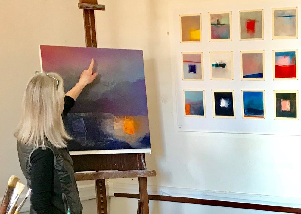 Marianne pointing out a part of a painting | Artist Mastery Guide, Marianne Mitchell
