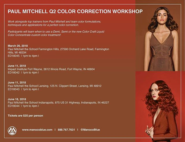 "Let's set the scene: your client walks in with an ""at-home"" ombre and the look of ""please help"" in their eyes. So, what do you do?  Come to the @paulmitchellus Color Correction Workshop to learn how you can use the iconic PM Color line to get your client leaving your chair with a new strut in the step!"