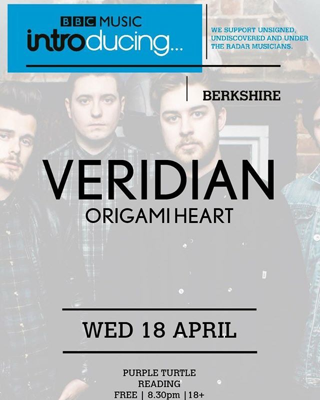 Reading! We're coming home next Wednesday for our @bbcintroducing headline show and a night of 🔥. On stage at Purple Turtle at 10.15pm 💚 #bands #reading #readingmusic #readingmusicscene #purpleturtle #bandsontour #music #gigs #rock #altrock #veridian #bbcintro #bbcintroducing #bbcmusicintroducing