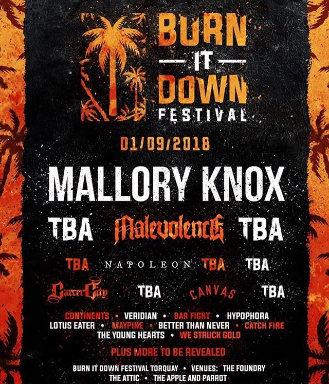 We're proud to announce on 01/09 we'll be tearing up @burnitdownfestival in Torquay with @malloryknoxband @napoleonuk @carcercity @btn_uk @wearecanvas @theyoungheartsuk  @catchfireuk + more... 💚