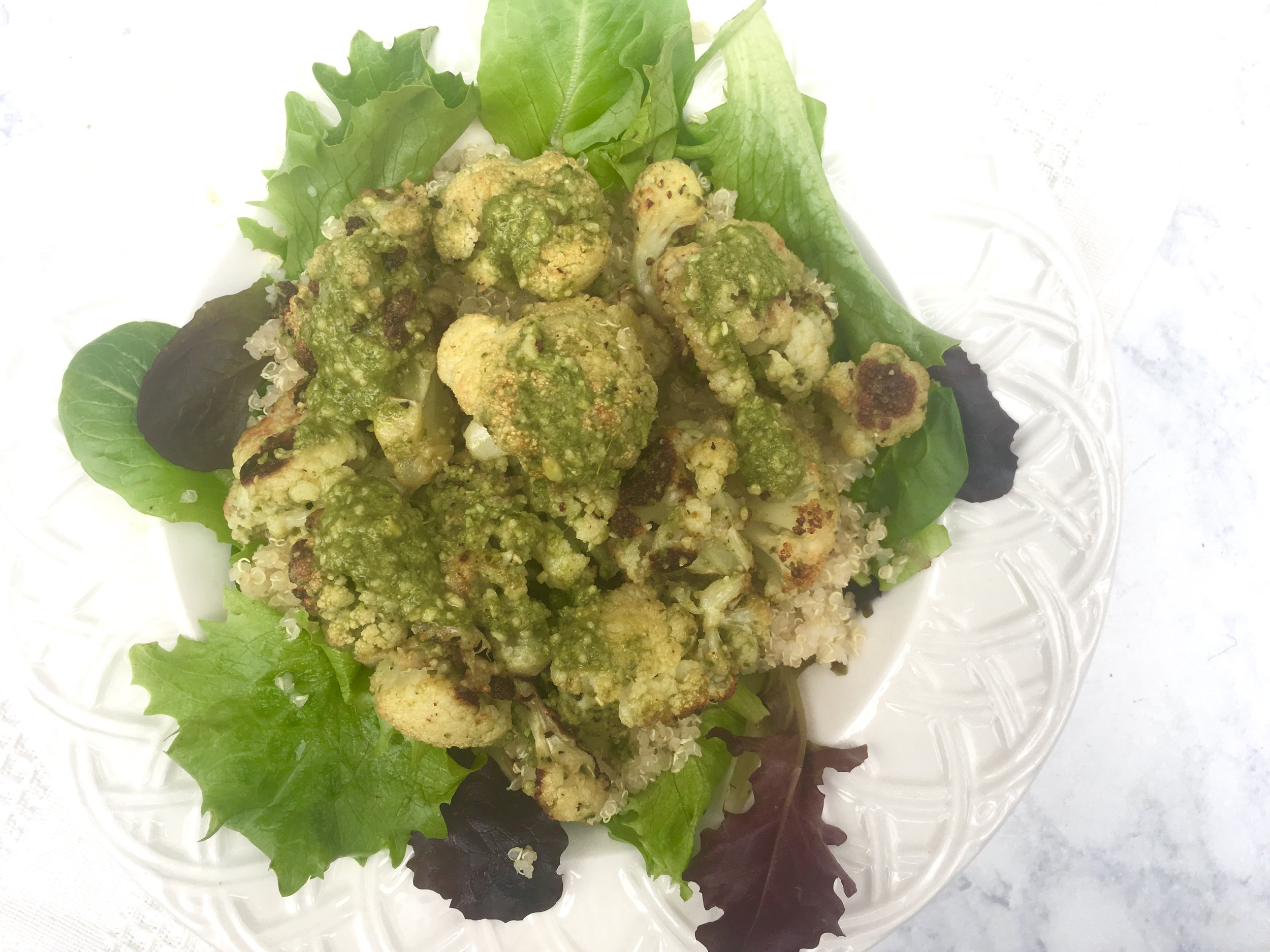 RFSpring17 Roasted Cauliflower with Pesto and Quinoa