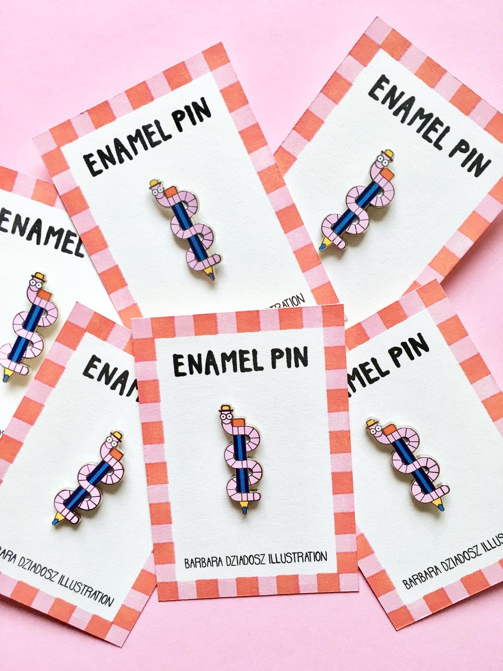 worm enamel pins