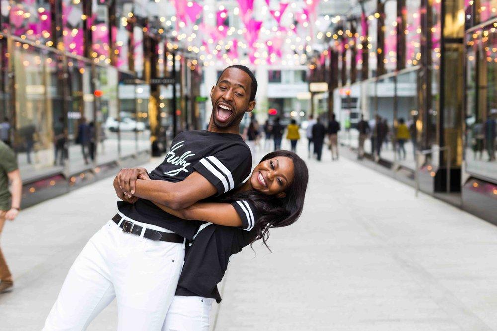 Black Couple Engagement Washington D.C. Laughing