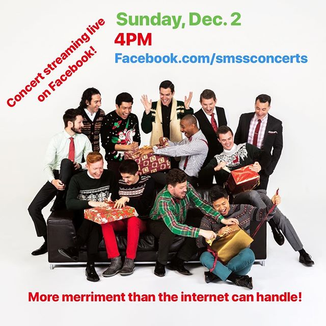 "Get into the holiday spirit with an early 🎁 from @chanticleersf! We're live-streaming their concert tomorrow (Dec. 2) at 4PM on our Facebook page. Just search ""SMSSconcerts."" Hope you'll join us • • • • • #facebooklive #acapella #christmascarols #sacredmusic #stignatiusofloyola #christmasinnewyork #nycchristmas #sacredmusicinasacredspace #smssconcerts #chanticleer #choralmusic #malesingers #gleeclub #acappella #livemusic #musicstreaming #holidaymusic #caroling #christmasspirit #holidayspirit #tistheseason"