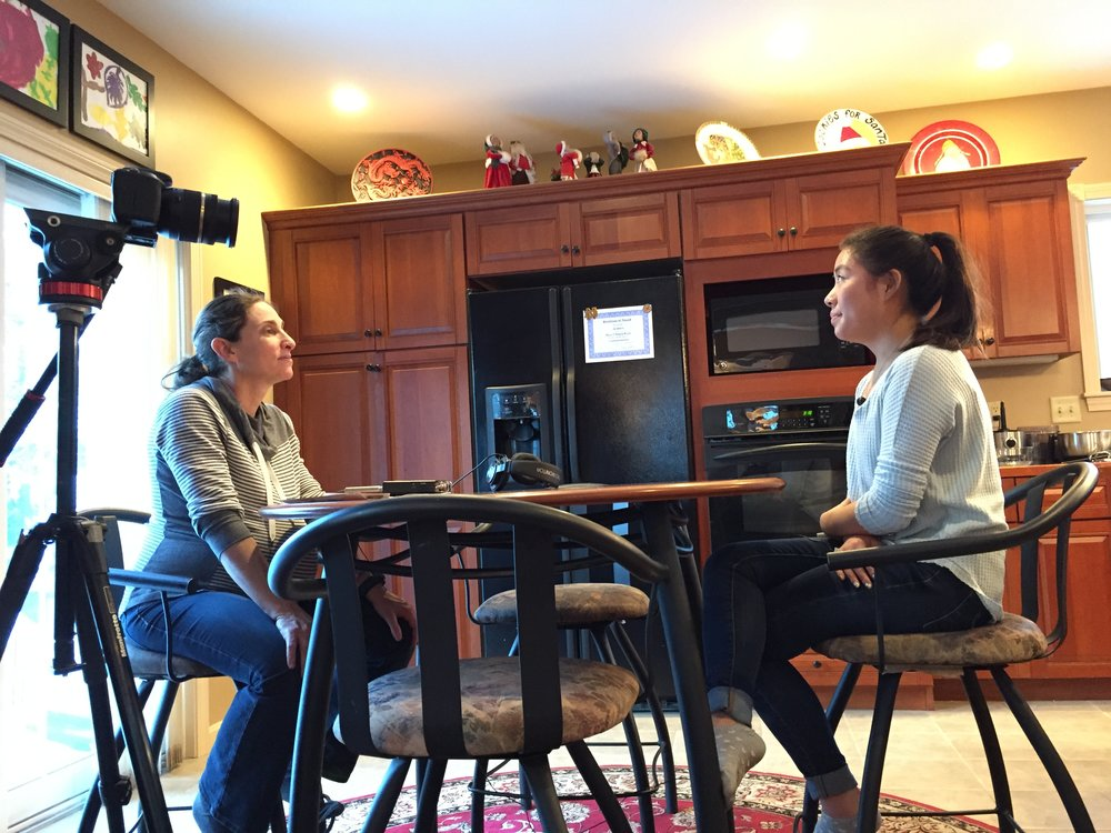 Jaelin being interviewed by Leslie and Paige from the Cooperative Extension and the University of Maine.
