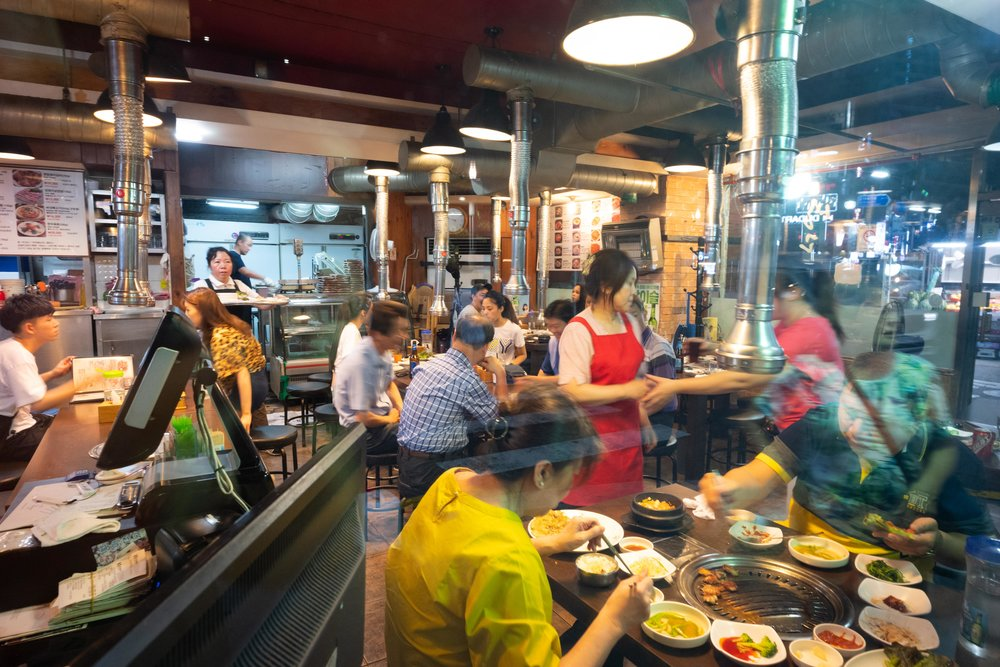 Nighttime hustle and bustle in restaurants.