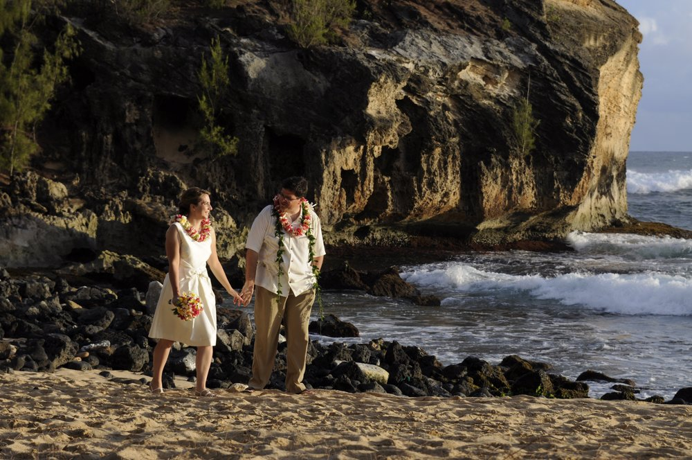 Amy and Keith, 2011. Vow renewal at Shipwreck Beach. Humm…