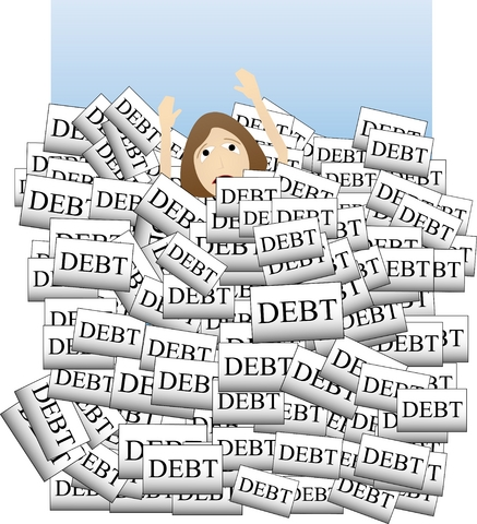 bills-cartoon woman drowning in debt