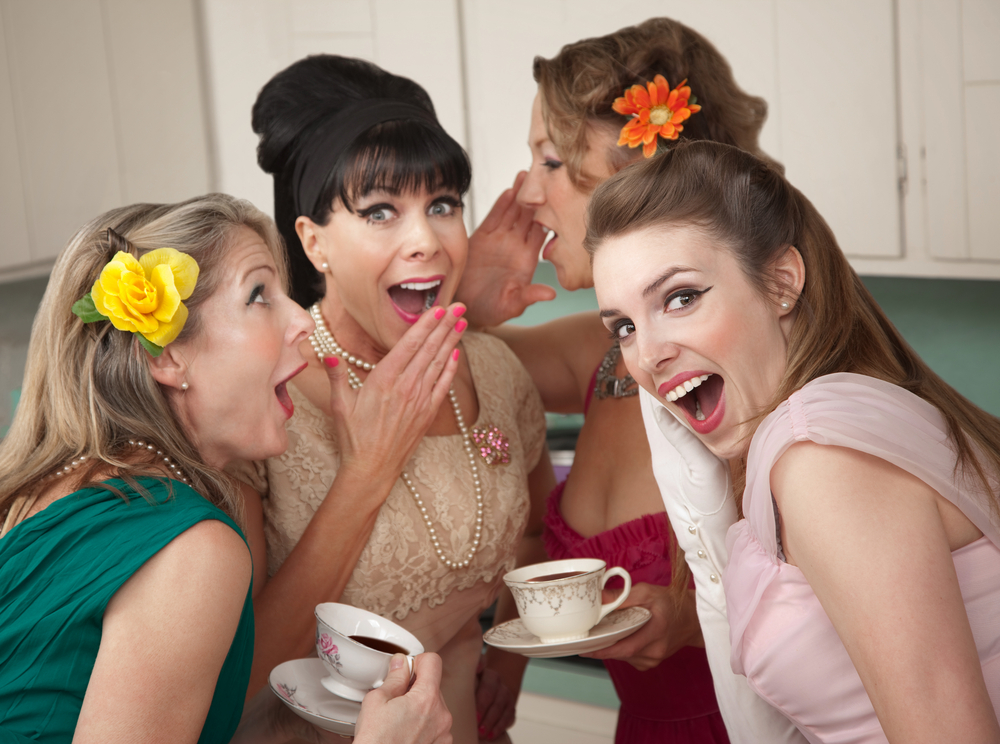 women gossiping -funny old fashioned at work
