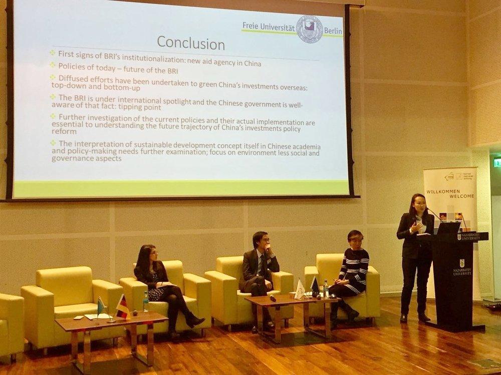 Presenting on Green Belt and Road in Nazarbayev University in Astana, Kazakhstan