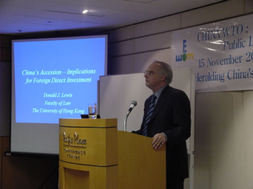 Convenor and Speaker, China WTO Public Lectures, The University of Hong Kong Faculty of Law and Institute of European Studies of Macau, Hong Kong, China (Nov 2002)