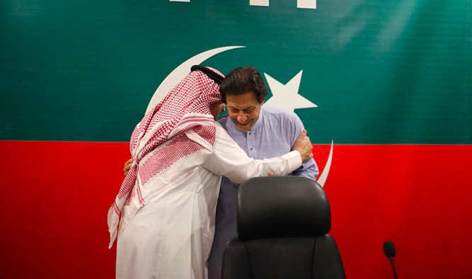 In this file photo, the ambassador of Saudi Arabia to Islamabad, Nawaf bin Said Al-Malki, met Pakistan's prime minister Imran Khan at his residence in Bani Gala, Islamabad, July 27, 2018. Saudi Arabia has recently joined CPEC and pledged $10 billion of investments.  Source: @PTIofficial/Twitter