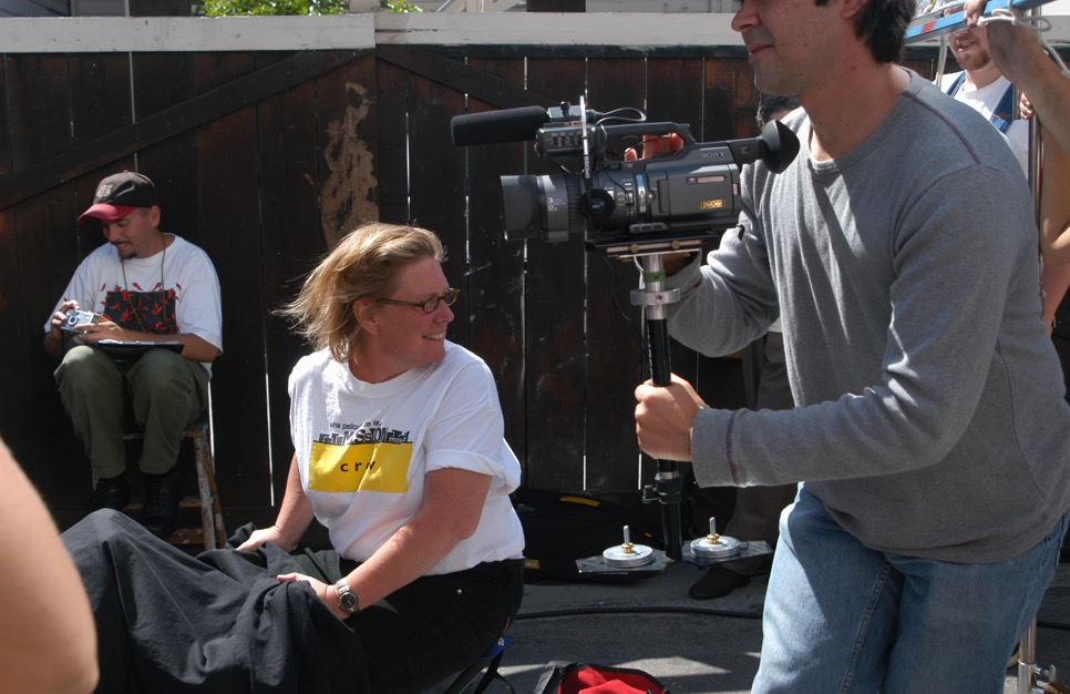 Figure 3: Director Lise Swenson on the set of Mission Movie in Clarion Alley