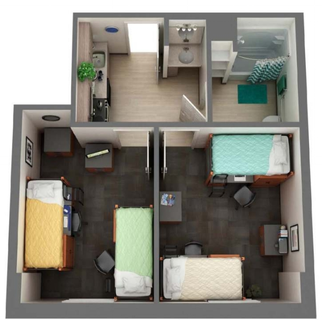 Participant apartments will look similar to the image above. Each participant will have their own bedroom.