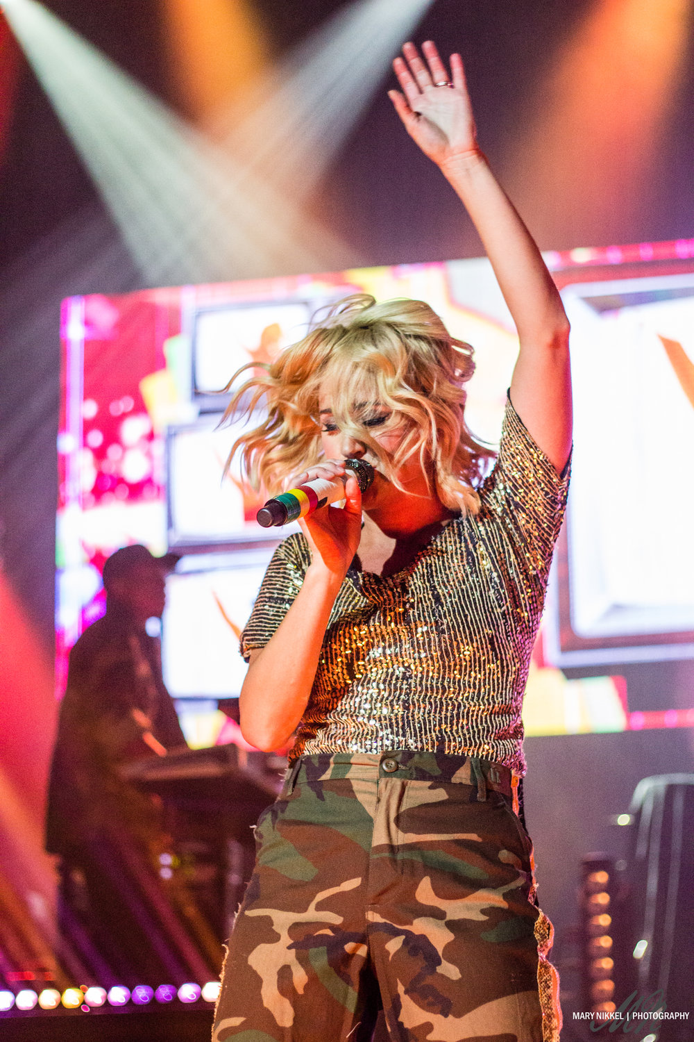 Britt Nicole, photographed on the Air1 Positive Hits tour in 2017; shared on her Facebook, Instagram, and Twitter to a combined 1.2 million followers