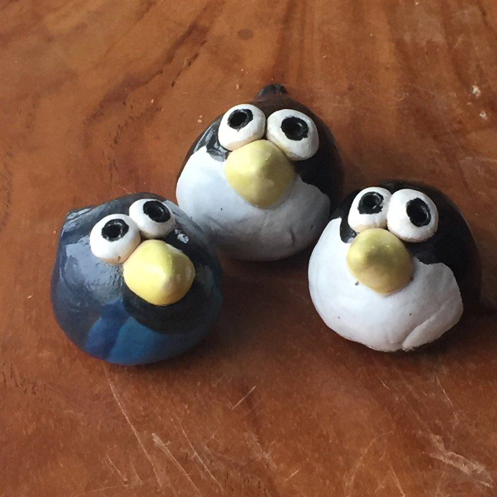 These guys!! Oh how we love them! Made by Farmer's market regular and Clay Artist Judy Cheverie of Funk & Stuff Pottery.