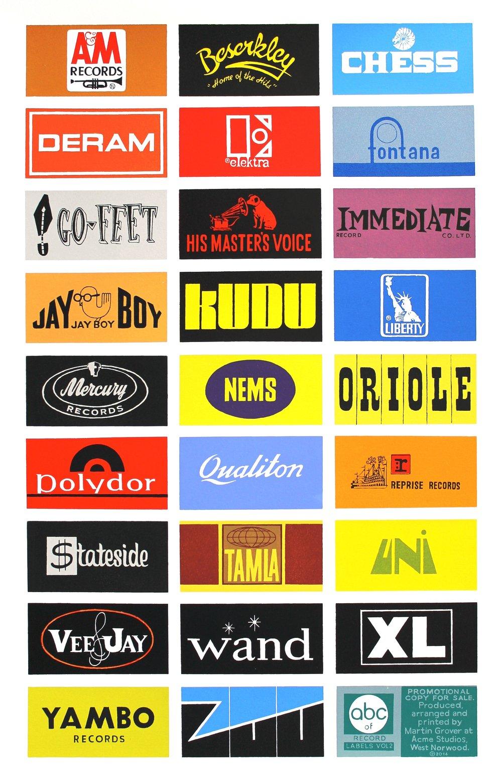 A-Z of Record Labels, Vol II - screen print.