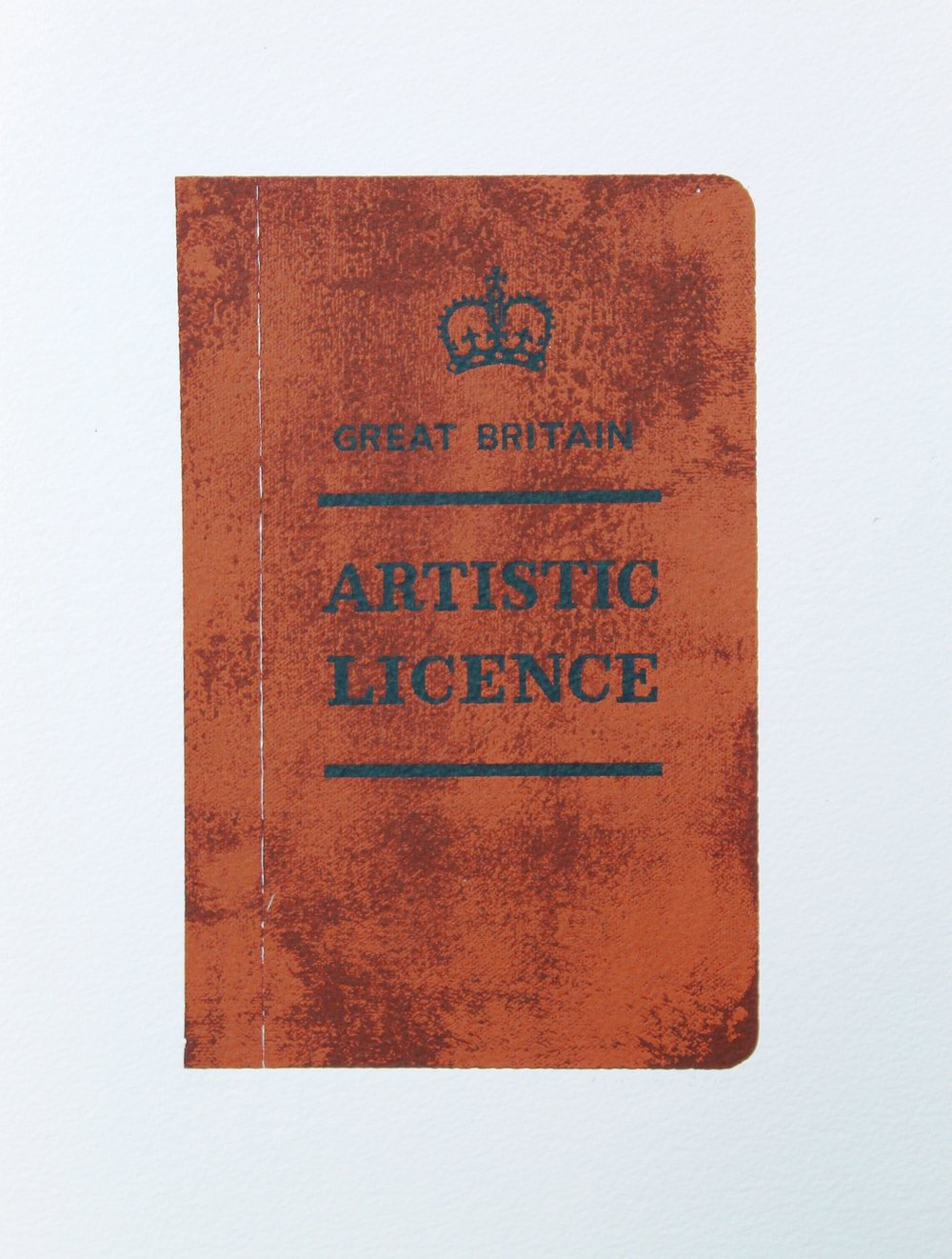 'Artistic Licence'. Screen print , edition 30. Image size 15 x 22cm. Paper size 28 x 38cm. M Grover 2015
