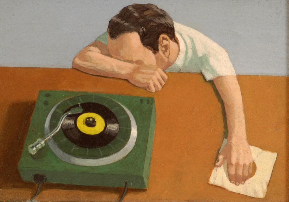 The Record Player . Acrylic on board 20cm x 14cm. Martin Grover
