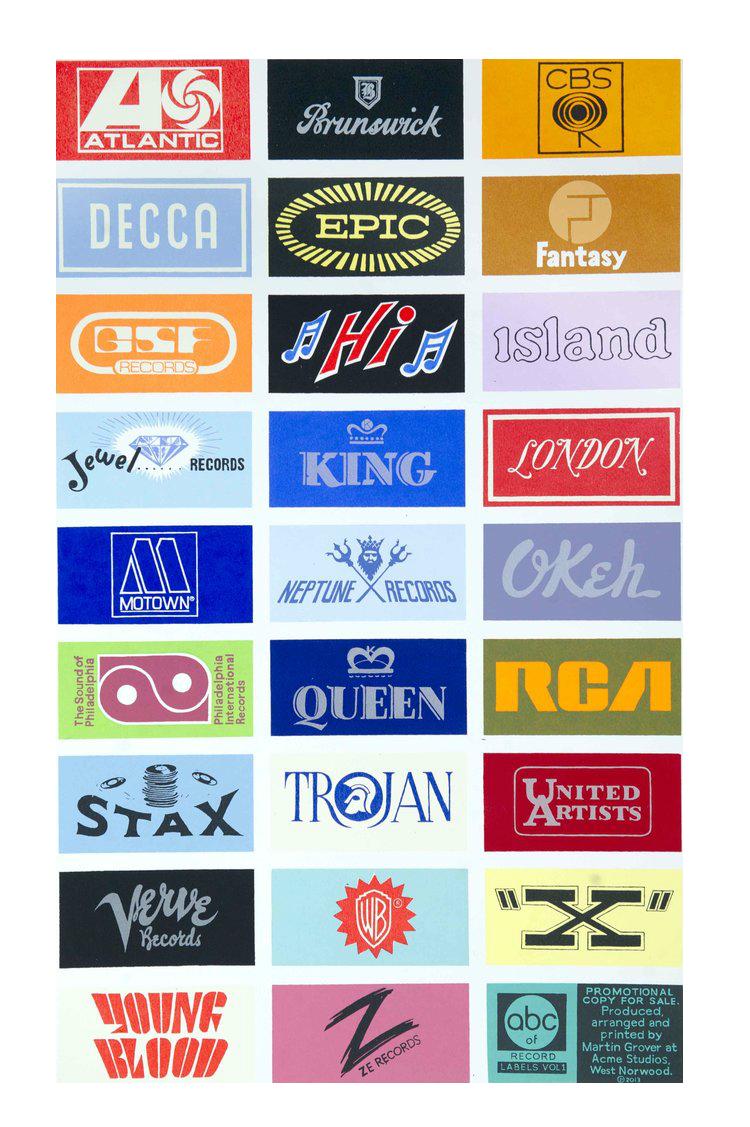 A-Z Record labels Vol I -  screen print