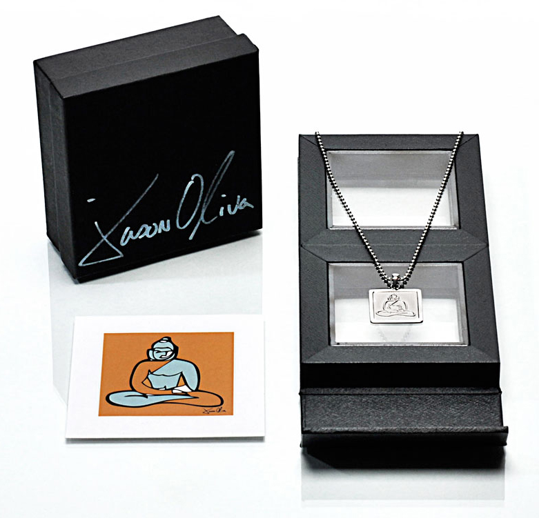 Packaging - As a finishing touch, Jason wanted to create a unique box to present the Buddha pendant necklace in. He was able to source packaging for the jewelry that would allow it to be displayed beautifully, while doubling as a picture frame to hold an included miniature, signed print of the original Buddha painting.