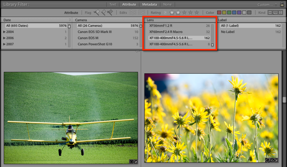 Filtering by specific lenses in Lightroom Classic CC