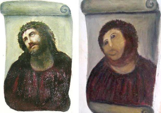 The (in)famous Jesus fresco in Borja, Spain.