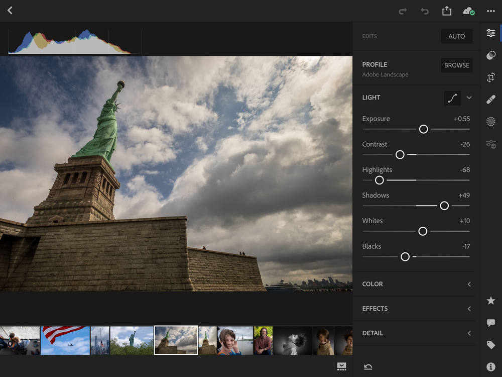 Editing in Lightroom CC on the iPad Pro