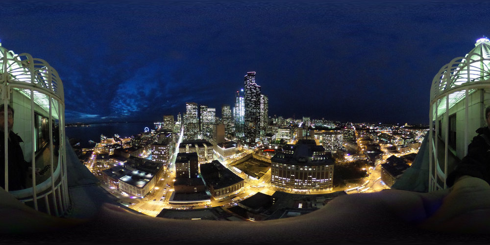 A flat 360-degree image, without the software that wraps it into a sphere.  Camera: Ricoh Theta S Shutter speed: 1/15 sec Aperture: f/2.0 ISO: 800 Photo: Jeff Carlson