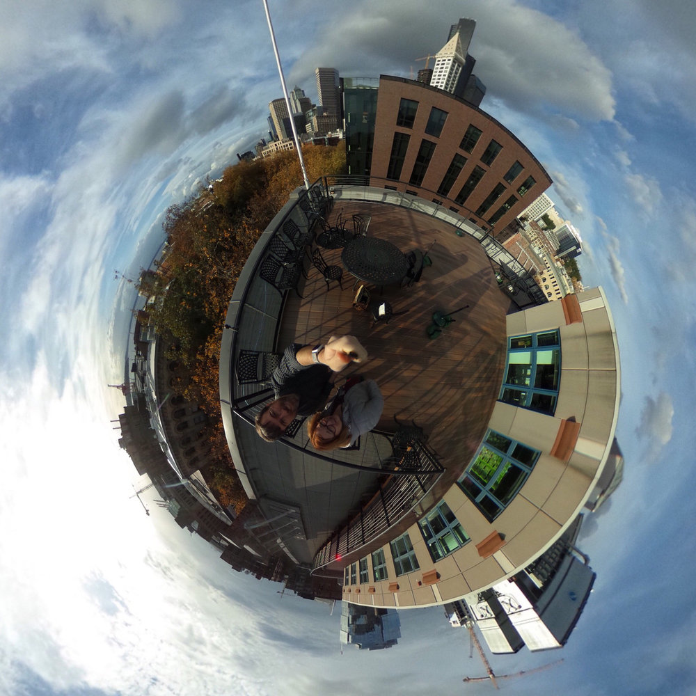 """Tiny Planet"" effect of a 360-degree photo  Camera: Ricoh Theta S Shutter speed: 1/5000 sec Aperture: f/2.0 ISO: 100 Photo: Jeff Carlson"