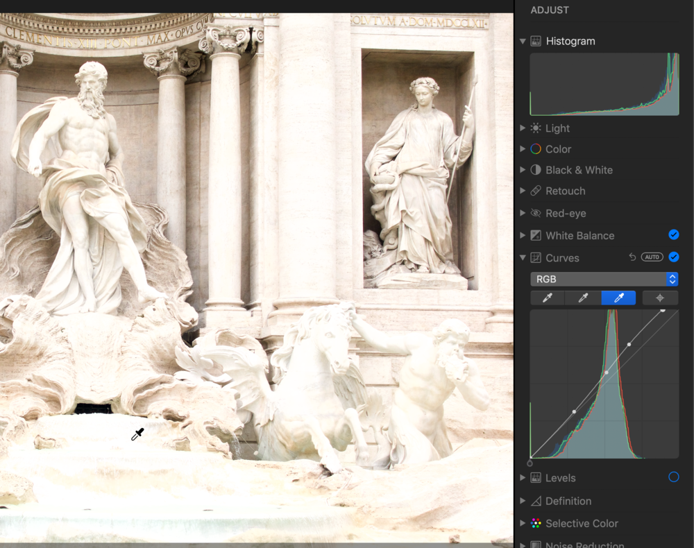 29:05 Using the White Point eyedropper in the Curves control