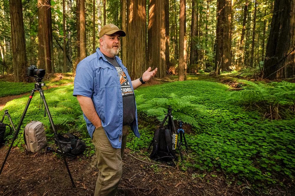 Mason Marsh leading a photo workshop in Redwoods National Park  Camera: Fujifilm X-T1 Shutter speed: 1/60 sec Aperture: f/4 ISO: 1600 Photo: Jeff Carlson