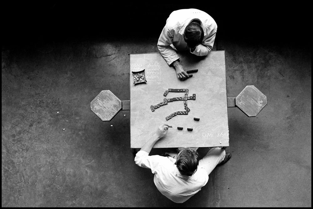 Domino Players, Walls Unit, TDC, 1967 by Danny Lyon