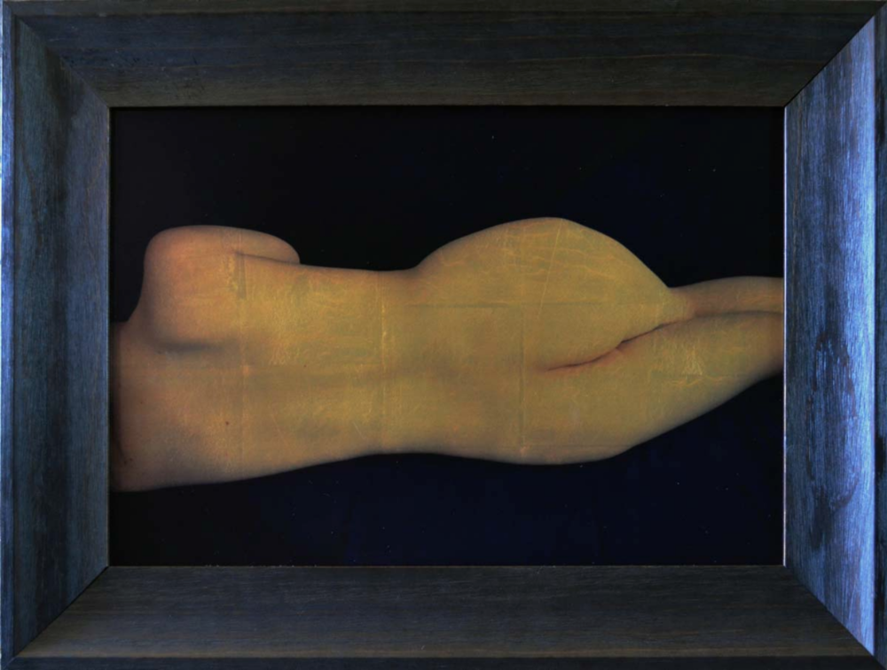 "Reclining Nude by juror Kate Breakey | Orotone Gold-leaf on Glass. Image size 13"" x 19"""