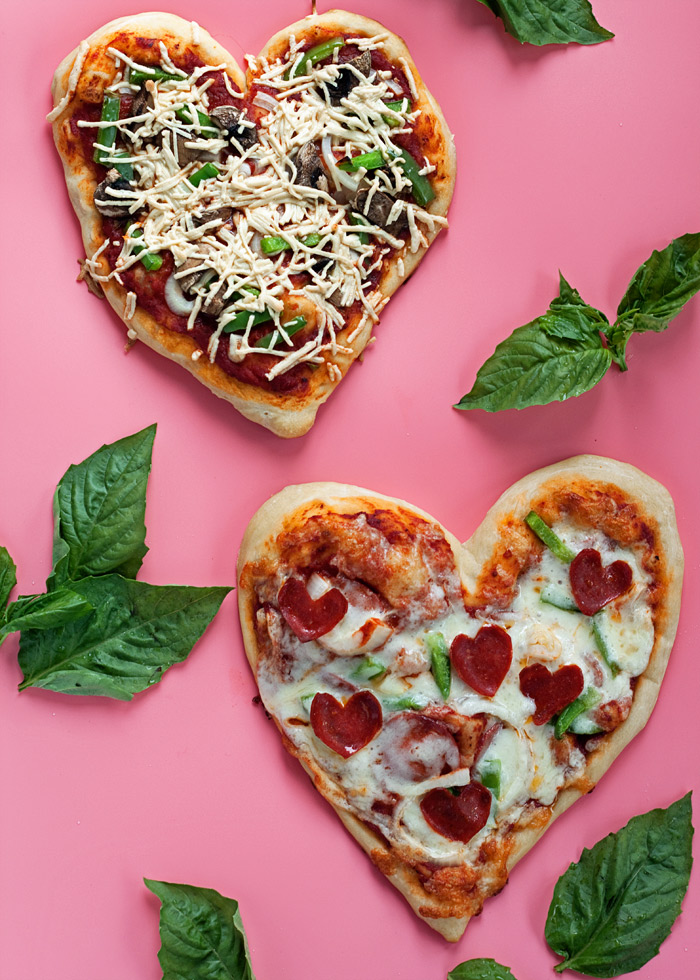 How to make a heart-shaped pizza for a family Valentine's Day dinner at Kitchen Treaty | featured at Didn't I Just Feed You, a food podcast for parents
