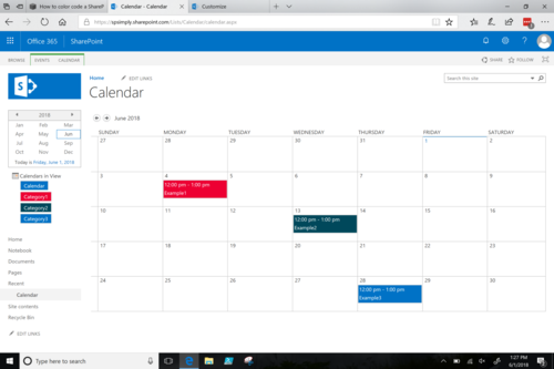 SharePoint: How to color code a calendar — SharePoint Simply