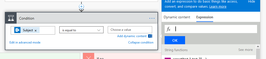 Microsoft Flow: Make a condition to check for empty fields or null
