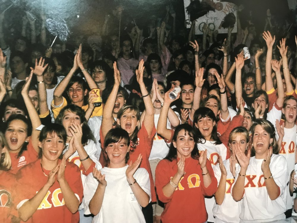 Pledge Class of '78 showing some spirit at a Panhellenic event!