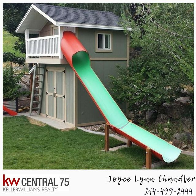 Wow! Check out this playhouse! What do you think of the slide that was added?  #house#home#dallas#dallastx#dallastexas#texas#dallasrealtor#dallasrealestate#realestate#realtor#garland#mesquite#plano#frisco#wylie#allen#rowlett#rockwall#backyard#backyarddecor#richardson#highlandpark#lakewood#whiterock#whiterocklake#arlington#ftworth#fortworth#richardson