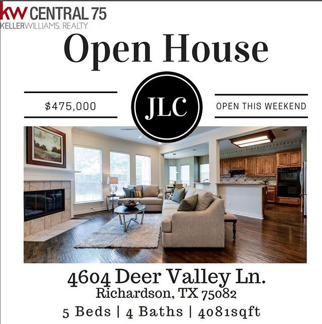 Open tomorrow and Sunday from 1-4! Great location; close to 400+ acre Breckinridge Park & comm. pool, plus exemplary Plano schools. Enjoy pretty drive-up, impressive 2-story Entry, split Formals, gorgeous solid oak hardwoods throughout, tall ceilings, neutral color palette & both the master & guest bedrooms on the 1st floor [or guest suite can be home office, nursery, exercise rm]. Upstairs offers 3 Bed, game room & separate media room! Recent Improvements incl: roof, gutters, fence, garage doors, exterior paint & 24 windows [2016], lots of interior paint [2018], 1 HVAC system replaced [2016], water purifier & softening system [2015]. Call for more info on the home! 214-499-2444. #realtor#realestate#realestateagent#realtors#realestateinvestor#marketing#market#realestatemarketing#realtorlife#house#home#seller#homedecor#homeseller#homebuyer#realestatebroker#goals#growth#community#dallas#dallastx#dallastexas#kw#kellerwilliams#richardsontx#follows#richardson@marketingforrealtors