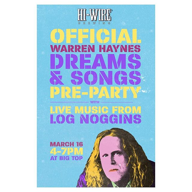 We're jamming at @hiwirebrewing Big Top for the Warren Haynes Dreams & Songs Pre-Party. Saturday 3/16 4-7p #biltmorevillage #asheville