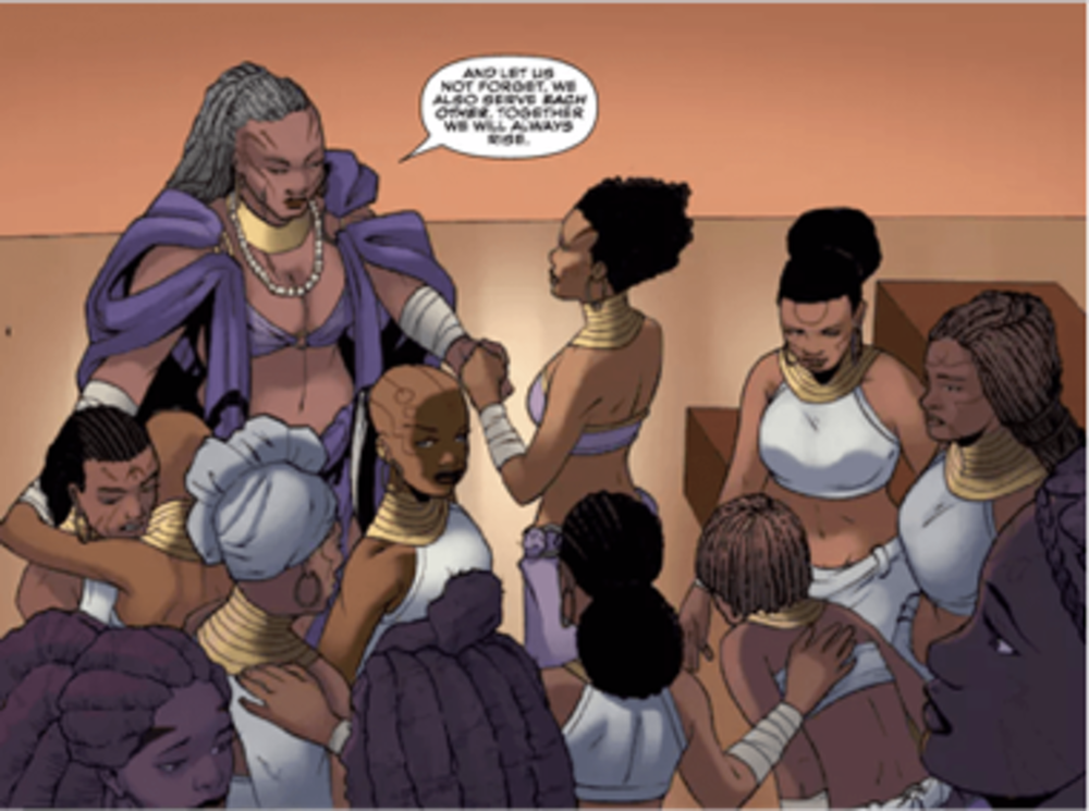 """This viewing guide is intended to support you in using the concepts, imagery and principles of Black Panther to imagine and engage your communities in creating a blueprint for #FreedomCities, cities and communities in which communities of color, queer, trans, immigrants and Muslims are free and thriving.""   Artwork: Alitha Martinez in World of Wakanda by Roxane Gay, Ta-Nehisi Coates, & Alitha Martinez"