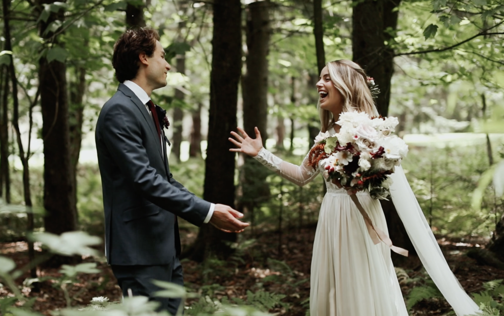 First Look in Forest at Edson Hill Wedding Venue in Stowe, Vermont