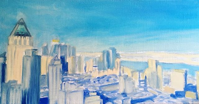 Commission in progress. Always love having a good project to work on! 🎨 . .  #wip #oiloncanvas #oilpainting #art #painting #artist #skyline #nyc #shadesofblue #cityscape #artlovers