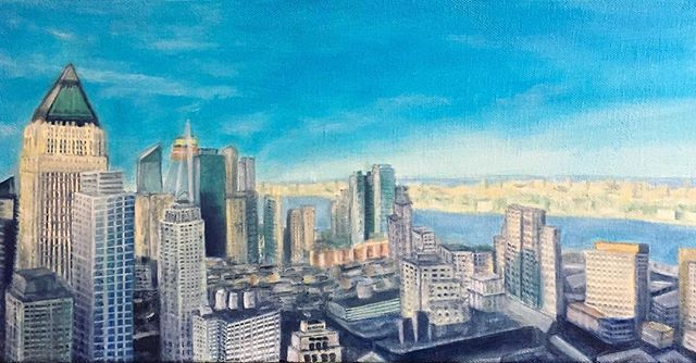 Finished piece :) . . . #art #commission #painting #oilpainting #artist #cityscape #view #nyc #newyork #realism #details #bluesky #city #vibes #skyline #nycart #fineart