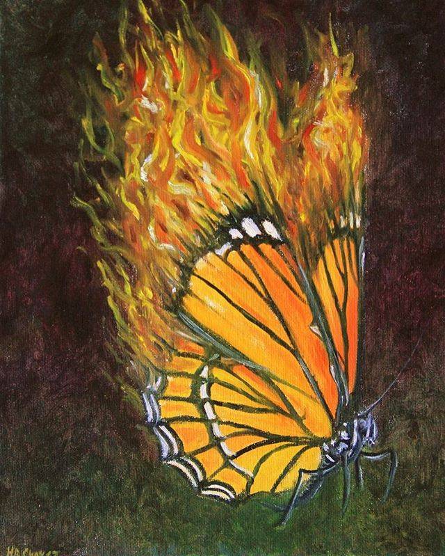 I did this painting a while ago, but it's actually more relevant now than ever, with our administration planning to start construction on a portion of the border wall with Mexico running through Mission, Texas. This will require bulldozing through the National Butterfly Center, as well as simply dividing land that many species migrate through, devastating not only the butterflies, but countless other endangered species critical to our ecosystems. While there is still a lawsuit ongoing, the Supreme Court is upholding a lower courts ruling that allows the trump administration to bypass environmental laws!😔 The wall was supposed to include running through the Santa Ana Wildlife Refuge as well, but due to HUGE protest it was halted. Our voices have power! Let's use them! . . . . . #art #animalart #animalartist #saveourplanet #butterfly #monarchbutterfly #oilpainting #painting #realism #flames #nature #conservation #wildlife #animallovers #allspeciesmatter #wacfeature #artistsoninstagram #art_spotlight @beautifulbizarremagazine